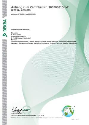 Zertifikat IATF 16949 Kranstraße