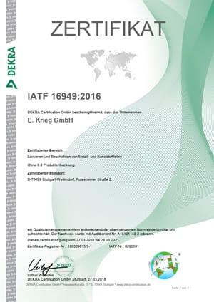 Zertifikat IATF 16949 Rutesheimerstraße