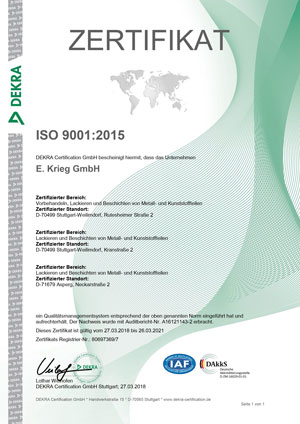 Zertifikat ISO9001:20015, Rutesheimerstraße & Kranstraße, Neckarstraße