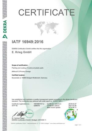 Certificat IATF 16949 Kranstraße