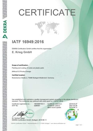 Certificat IATF 16949 Rutesheimerstraße