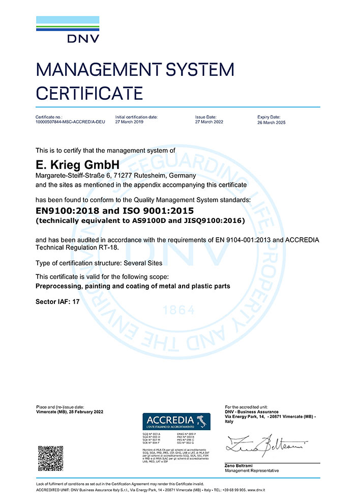 Zertifikat EN 9100