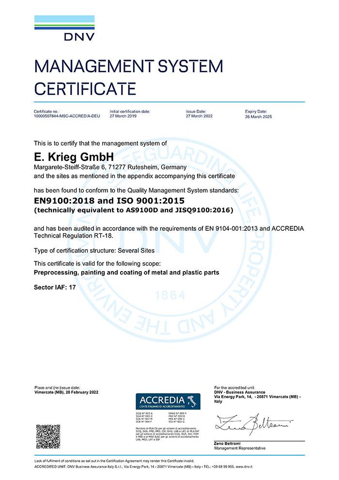 Certificate EN 9100