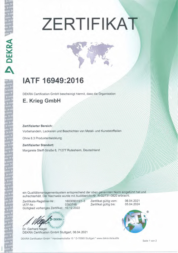 Zertifikat IATF 16949