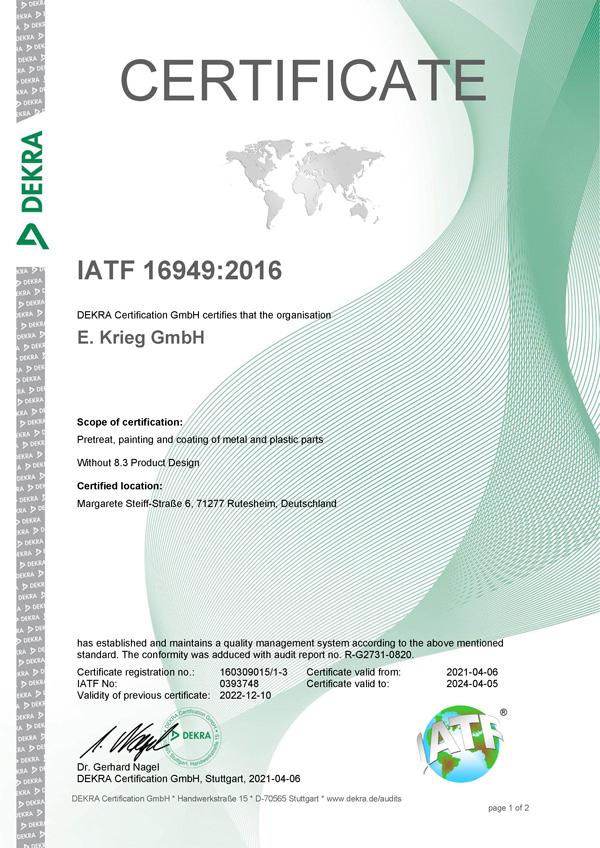 Certificate IATF 16949