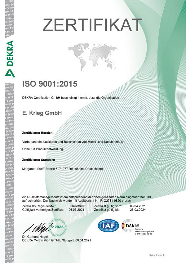 Certificate ISO9001:2015, Rutesheimerstraße & Kranstraße, Neckarstraße