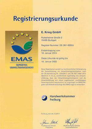 EMAS Registrierungsurkunde