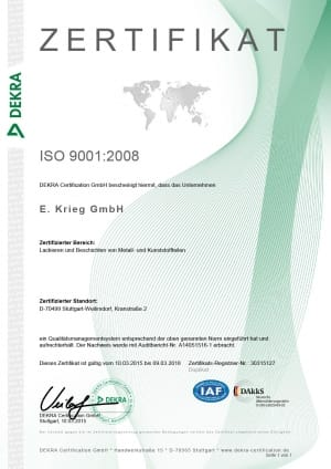 Zertifikat ISO9001:2008, Kranstraße