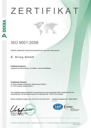Zertifikat ISO9001:2008, Rutesheimer Straße, Neckarstraße / Asperg