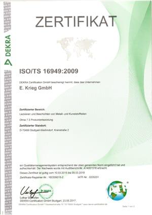 Zertifikat ISO TS 16949:2009 Kranstraße