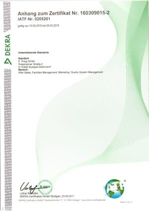 Anhang Zertifikat ISO TS 16949:2009 Kranstraße